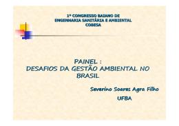PAINEL : DESAFIOS DA GESTÃO AMBIENTAL NO BRASIL