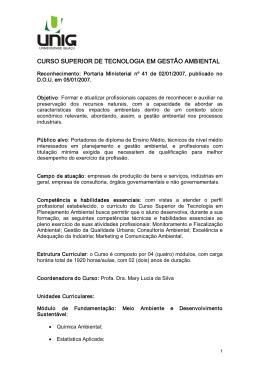 CURSO SUPERIOR DE TECNOLOGIA EM GESTÃO AMBIENTAL
