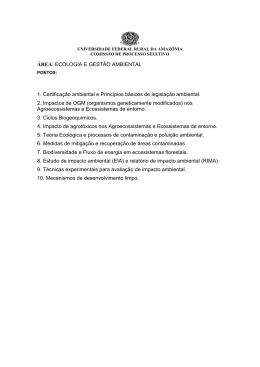 ÁREA: ECOLOGIA E GESTÃO AMBIENTAL 1. Certificação