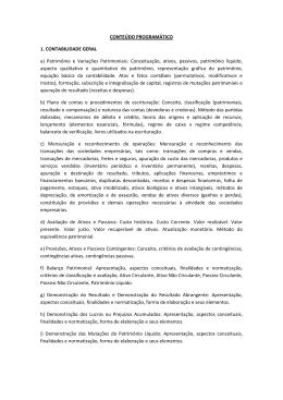 CONTEÚDO PROGRAMÁTICO 1. CONTABILIDADE GERAL a