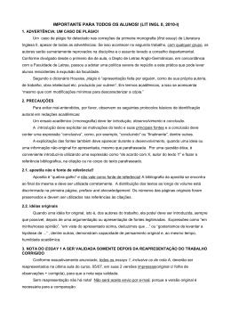 IMPORTANTE PARA TODOS OS ALUNOS! (LIT INGL II, 2010-I)