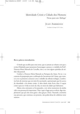 Identidade Cristã e Cidade dos Homens Juan Ambrosio