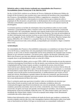 Relatório sobre a visita técnica realizada nas comunidades dos