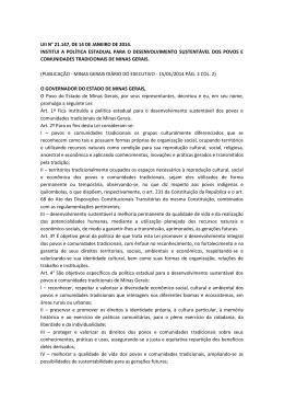 LEI N° 21.147, DE 14 DE JANEIRO DE 2014. INSTITUI A POLÍTICA