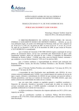 Resolução nº 001, de 29 de janeiro de 2014 - Adasa