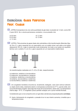 Exercícios:G ases Perfeit ases Perfeit ases