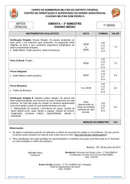 ARTES CÊNICAS EMENTA – 3º BIMESTRE ENSINO MÉDIO 1ª SÉRIE