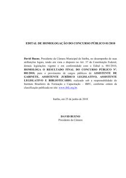 edital de homologação do concurso público 01/2010