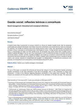 Gestão social: reflexões teóricas e conceituais
