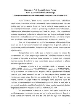 1 Discurso do Prof. Dr. José Roberto Provesi Reitor da
