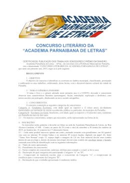 "CONCURSO LITERÁRIO DA ""ACADEMIA PARNAIBANA DE LETRAS"""
