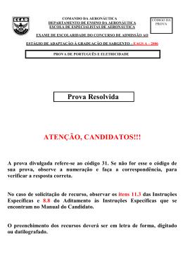 Gabarito Oficial - EAGS-A 2006 - Eletricidade