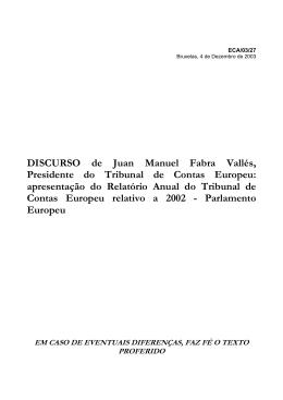apresentação do Relatório Anual do Tribunal