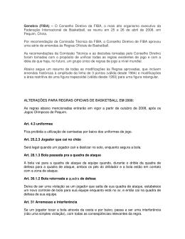 Regras Oficiais do Basketball - Alterações em 2008