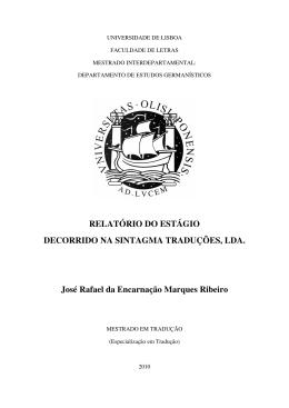 RELATÓRIO DO ESTÁGIO DECORRIDO NA SINTAGMA