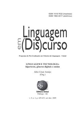 LINGUAGEM E TECNOLOGIA: hipertexto, gêneros digitais e ensino