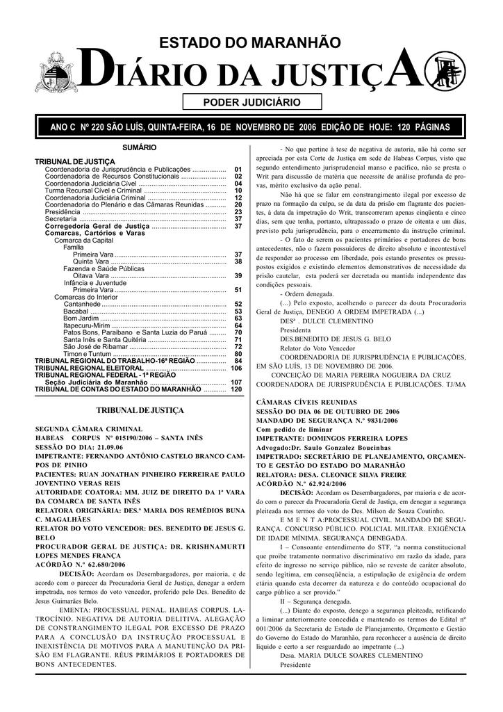 ba19ef1231 diário da justiça - Portal do Poder Judiciário do Estado do Maranhão