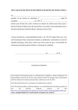 DECLARAÇÃO DE ISENÇÃO DE IMPOSTO DE RENDA DE