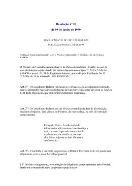 Resolução nº 20, de 9 de junho de 1999