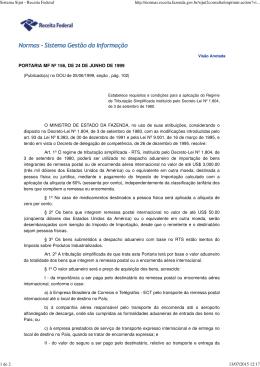 Portaria MF nº 156, de 24 de junho de 1999