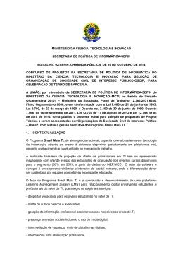 edital - Ministério da Ciência e Tecnologia