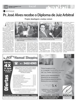 Pr. José Alves recebe o Diploma de Juiz Arbitral Projeto desafogará