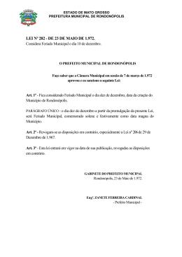LEI Nº 282 - DE 23 DE MAIO DE 1.972.