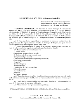 PROJETO DE LEI Nº 206/2009 - Câmara de Vereadores de Taquara