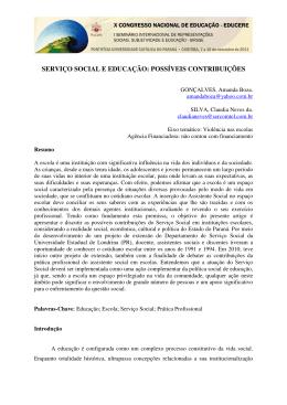 SERVIÇO SOCIAL E EDUCAÇÃO: POSSÍVEIS CONTRIBUIÇÕES