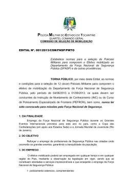 EDITAL Nº. 001/2013/CSM/FNSP/PMTO Estabelece normas para a