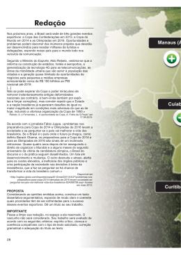28 Nos próximos anos, o Brasil será sede de três grandes eventos