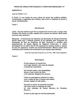 PROVA DE LÍNGUA PORTUGUESA E LITERATURA BRASILEIRA