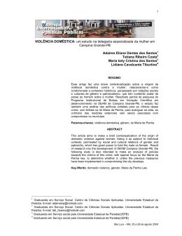 VIOLÊNCIA DOMÉSTICA: um estudo na delegacia especializada da
