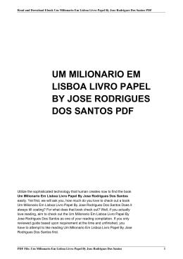 um milionario em lisboa livro papel by jose rodrigues dos santos pdf