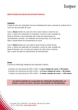 RESTITUIÇÃO DA BOLSA DE ESTUDO PARCIAL Carência