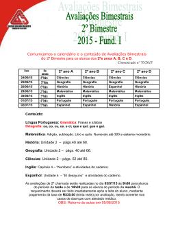Comunicados nº 70 a 73/2015 Avaliações Bimestrais EFI