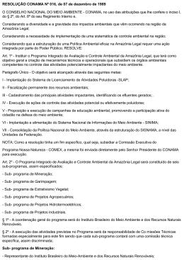 RESOLUÇÃO CONAMA Nº 016, de 07 de dezembro de