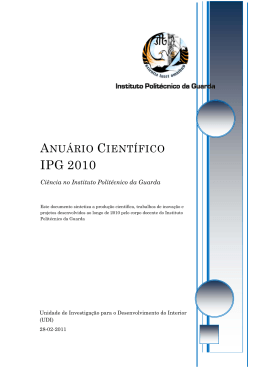 Anuário Científico do Instituto Politécnico da Guarda de 2010