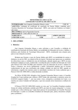 Parecer CNE/CEB nº 30/2003, aprovado em 3 de novembro de 2003