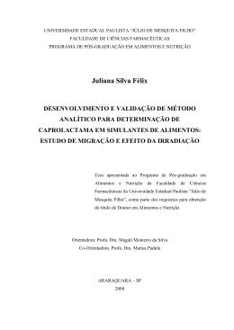 Juliana Silva Félix - Faculdade de Ciências Farmacêuticas