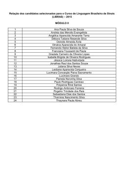 Candidatos selecionados curso de LIBRAS 2015