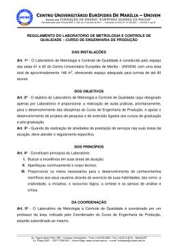 Regulamento do Laboratório de Metrologia