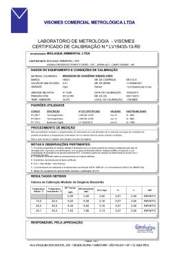 LABORATÓRIO DE METROLOGIA - VISOMES CERTIFICADO DE