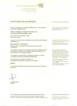 Certificado de Acreditação - Janz - Contagem e Gestão de Fluídos, SA