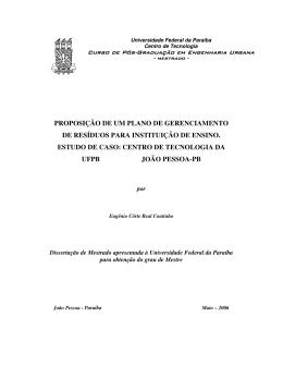 proposição de um plano de gerenciamento de resíduos para
