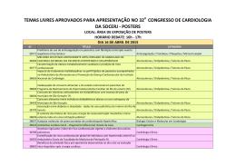 temas livres aprovados para apresentação no 32 congresso