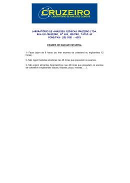 laboratório de análises clínicas cruzeiro ltda. rua do cruzeiro, nº 493