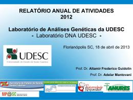 RELATÓRIO ANUAL DE ATIVIDADES 2012 Laboratório de Análises