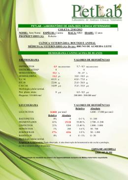 PETLAB - LABORATÓRIO DE ANÁLISES CLÍNICA VETERINÁRIO