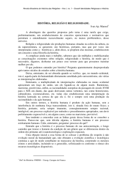 HISTÓRIA, RELIGIÃO E RELIGIOSIDADE. Ivan Ap. Manoel∗ A